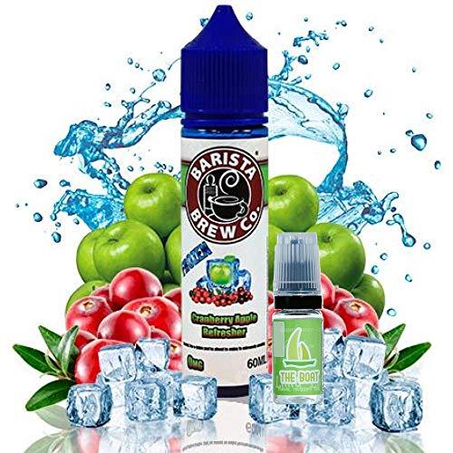 E Liquid Barista Cranberry Apple Refresher Frozen 50ml - 70vg 30pg + E Liquid The Boat 10 ml lima limón - Pack de 2 Ud. Ambos liquidos contienen 0,0mg de nicotina.