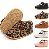 COUCOU Infant Baby Girls Mary Jane Flats with Bowknot Anti-Slip Rubber Soft Sole Toddler First Walkers Newborn Princess Dress Crib Shoes(JYM1988 Leopard Print,2)