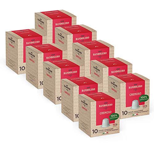 BANDOLERO 100% Kompostierbar Made in Italy, 100 Nespresso-kompatible Kapseln, Cremiger Kaffee aus ökologisch nachhaltigem Anbaue, Unverwechselbares Aroma für die Nespresso-Maschine