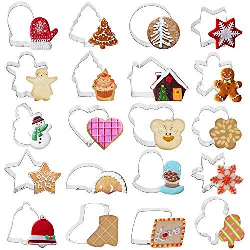CMTOP Navidad Cortadores de Galletas 20 Piezas Navidad Moldes Metalicos de Fiesta Acero Inoxidable para Reposteria Bizcocho Pastel Cookie Fondant Tarta Horno Formas Navidad Decoración