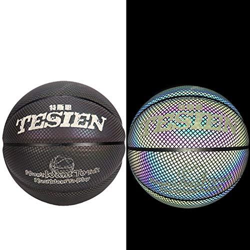 QGGESY Baloncesto Luminoso,Brillante Juego Nocturno Reflectante Street PU Glowing Basketball No.7, con Bolsa de Pelota, inflador, Bolsa de Red, Aguja de Pelota,color2