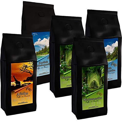 5 Kilogramm aromatische Spitzen-Länderkaffees aus aller Welt (Ganze Bohnen) | Premium-Kaffees aus Ruanda, Mexiko, Nicaragua, Kolumbien und Brasilien im Sparpaket