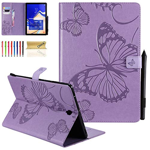Galaxy Tab S4 10.5 Case, Dteck Slim Fit Embossed Butterfly Premium PU Leather Folio Stand Cover with Card Holders for Samsung Galaxy Tab S4 10.5-Inch (SM-T830 T835 T837) 2018 Tablet, Purple