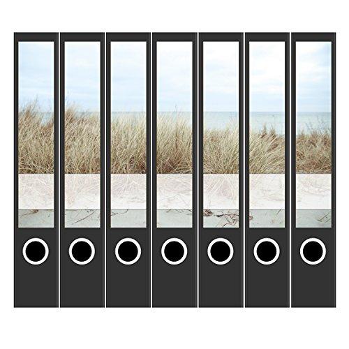 7 x Akten-Ordner Etiketten/Design Aufkleber/Rücken Sticker/Dünengras am Meer/für schmale Ordner/selbstklebend / 3,7 cm breit