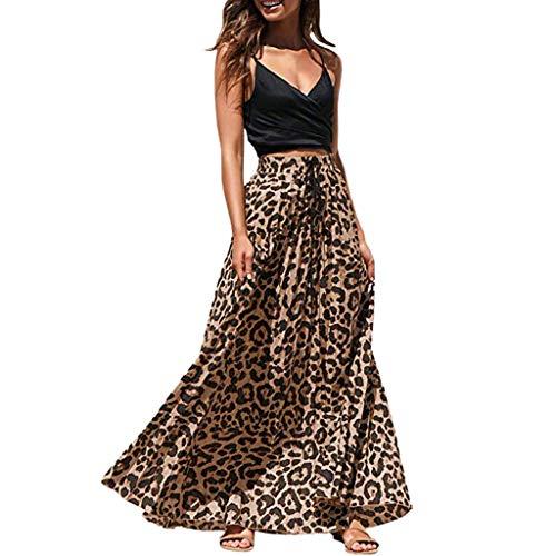 AIni Damen Leopard Print Lange Kordelzug Plissee Hoch Taillierte BöHmischen Maxirock Abendkleider BeiläUfiges Kleid Festlich Hochzeit Partykleid