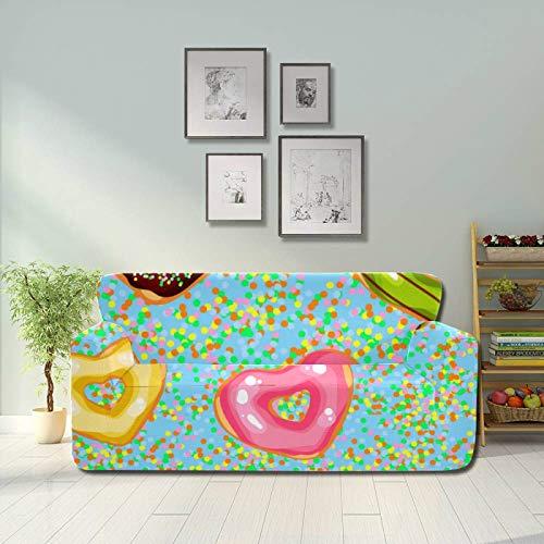 ALALAL Colorido en Forma de corazón Postre Donut Funda de sofá Antideslizante Cojín Funda de sofá Protector de Muebles Equipado 2
