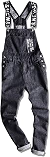 VerOut Mens Relaxed Fit Denim Dungarees - Stonewash Classic Overalls,5XL
