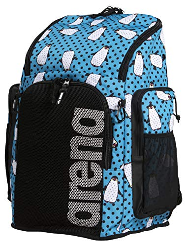 Arena Team 45L Swimming Athlete Sports Backpack Training Gear Bag for Men and Women, Crazy Penguins (T45L)