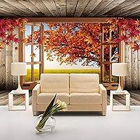 3D壁壁画壁紙メープルツリー風景写真壁紙リビングルームソファテレビ背景寝室の壁家の装飾-300x210cm