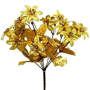 rianiq07 Mini Poinsettias Silk Flowers Centerpiece Bouquet Christmas Metallic 21 Gold