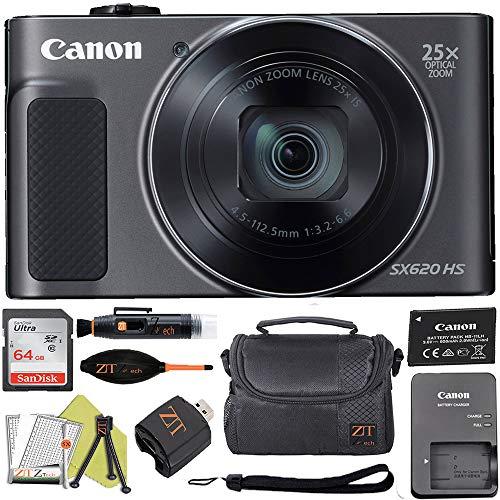 Canon PowerShot SX620 Digital Video Camera Content Creator Kit w/ 25x Optical Zoom - Wi-Fi & NFC Enabled + 64GB Memory Card + ZeeTech Bundle (Black)