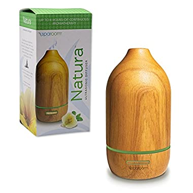 SpaRoom Natura Wooden Essential Oil Diffuser For Therapeutic Aromatherapy Misting, 100ml