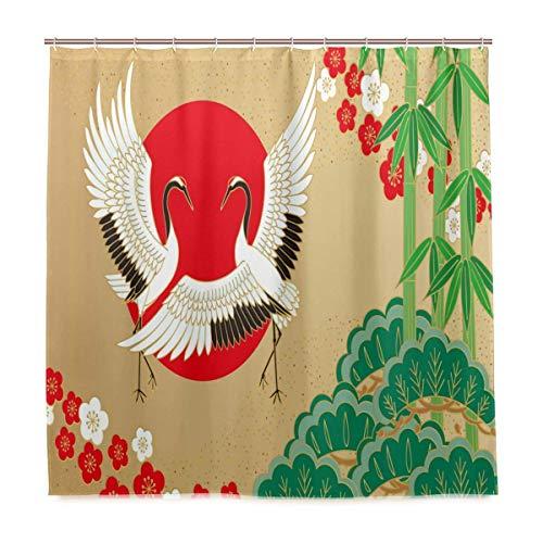 JOOCAR Cortina de ducha con grúas y pino de bambú ciruela, estilo japonés, cortina de ducha de tela de poliéster para baño con ganchos