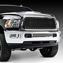 Razer Auto Triple Chrome Plated Outer Shell with Gloss Black Rivet Studded Frame Mesh Grille Complete Factory Replacement Grille Shell for 10-17 Dodge RAM Trucks 2500+3500+Heavy Duty