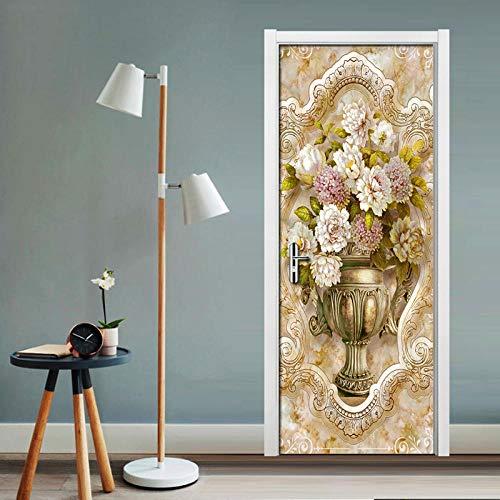 3D-stickers deurbehang, deurbehang, zelfklevend, waterbestendig, zelfklevend, van vinyl voor zelfklevende deuren, vaas van marmer 88 X 200 CM