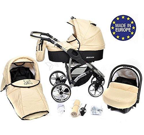 Allivio - 3-in-1 Travel System con carrozzina, seggiolino auto, passeggino sportivo e accessori CON RUOTE GIREVOLI … (3-in-1 Travel System, beige)