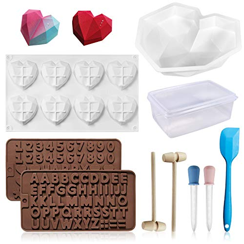 Chocolate Heart Mold, 10PCS Silicone Molds for Baking Diamond Heart Shaped Cake Mold Trays with Wooden Hammers Non-Sticky Dessert Cookie Mould Suitable for Home Kitchen DIY Tools Set