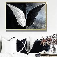 帆布の絵 黒と白の天使の羽の翼キャンバスのポスターとプリントの抽象的な油絵リビングルームのクアドロスの壁の芸術の写真 60x80cm