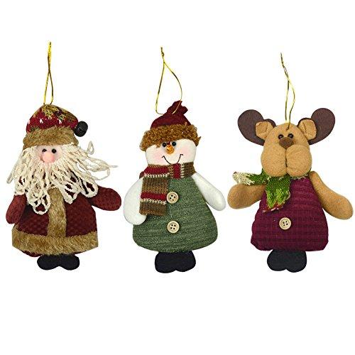 3 Pcs Décoration de Noël Nouvel An Ornement de Noël à suspendre Père Noël Bonhomme de neige Cerf