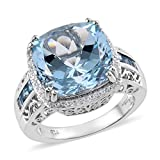 925 Sterling Silver Platinum Plated Blue Sky Topaz Electric Blue Topaz Halo Ring for Women Jewelry Gift Size 7