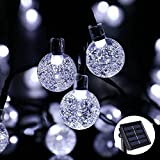 30er LED Solar Lichterkette Leuchte Außen Deko für Garten Party Hochzeit Gresonic [Energieklasse A+] (Weiß Kristalkugeln, 30 LED)