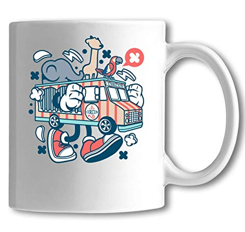 Iprints Cartoon stijl reizen Circus Truck witte keramische thee koffie mok