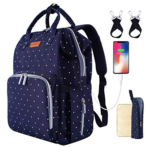 Product Image of the Diaper Bag Polka Dot Print Backpack for Baby with USB Charging Port Stroller...
