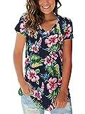Womens Shirts Hawaiian Casual Summer Tops Basic Tees Floral Navy Blue M