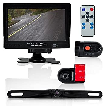 Pyle Dash Cam Car Recorder - Front & Rear View Camera 7 Inch Monitor Windshield Mount Full Color HD 1080p DVR Video Security Camcorder for Vehicle - PiP Night Vision Audio Record Micro SD  PLCMDVR72
