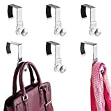 mDesign Modern Metal and Plastic Office Over The Cubicle Storage Organizer Hooks - Wall Panel Hangers for Hanging Accessories, Coats, Hats, Purses, Bags, Keychain - 6 Pack - Clear/Brushed