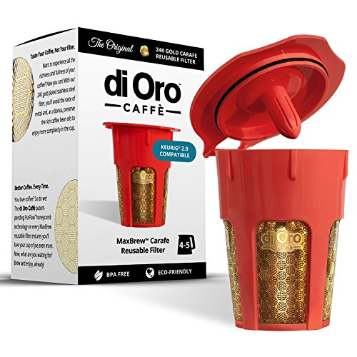 DI ORO - MaxBrew 24K Gold Reusable K-Carafe Filter for Keurig 2.0 - K-Cup Reusable 4-5 Cup Carafe...