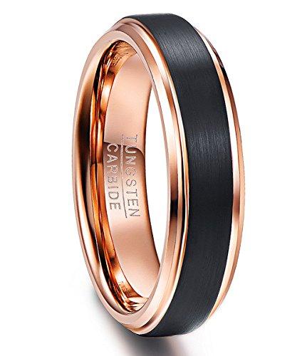 NUNCAD Ring Damen schwarz + Rosegold 6mm gebürstet, Wolfram Fashion Ring für Frauen/Mädchen, Ehering, Ring für Hochzeit, Größe 59 (19)