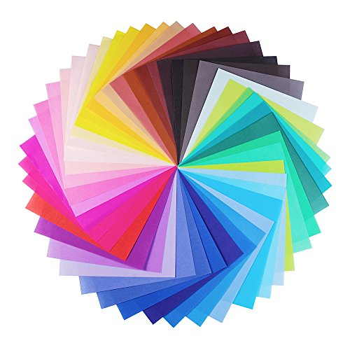 Opret Origami-Papier, 100 Blatt 17 x 17 cm Farbiges Bastelpapier für Weihnachten Origami DIY Kunst und Bastelprojekte, 50 Verschiedene Farben