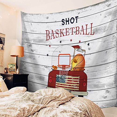 Tapiz para colgar en la pared Decoración de camión rojo Tapiz impreso Tapiz de pared para niños Niñas Habitación de niños Dormitorio Sala de estar Dormitorio Canasta Tiro Baloncesto Deportes Vintage