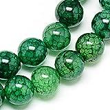 Perlas preciosas, piedras de dragón 10/8/6 mm, de color verde, perlas para enhebrar (8 mm, 15 piezas)