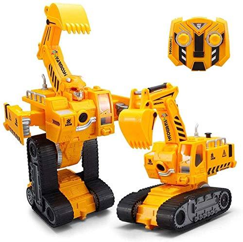 YARMOSHI Excavadora Robot Tractor Con Mando A Distancia Y Cargador Usb. Se Ilumina Con Luces Intermitentes. Reproduce Música Y Bailes. Divertido Regalo Para Niños Y Niñas, 7.5