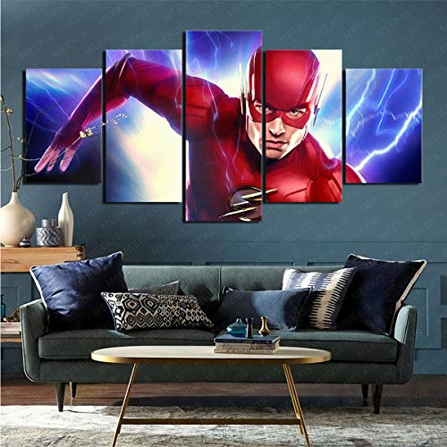 Cuadro de Arte de Pared 5 Piezas película Liga de la Justicia Pintura Lienzo habitación decoración del hogar 100x200cm (sin Marco)