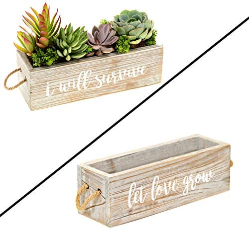 Rustic Windowsill Planter with 2 Planter Liners Modern Farmhouse Windowsill Herb Planter for product image