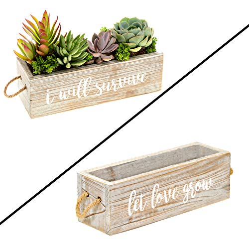 Rustic Windowsill Planter – Modern Farmhouse Windowsill Herb Planter for Kitchen Decor, Decorative Succulent Planter Box, Wood Planter Box with Rope Handles