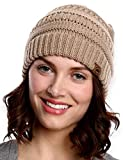 Tough Headwear Womens Cable Knit Beanie - Warm & Soft Stretch Winter Hats for Cold Weather Beige