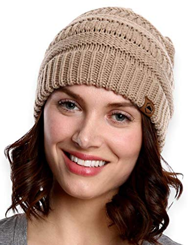 Tough Headwear Womens Beanie Winter Hat - Warm & Chunky Cable Knit Hats - Soft Stretch, Thick & Cute Knitted Stocking Caps for Cold Weather - Stylish & Trendy Snow & Ski Beanies for Ladies Beige