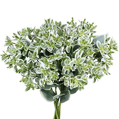 "Supla 3 Pack 18"" Tall Artificial Greenery Euphorbia Marginata Spray Gray Green Floral Stems Eucalyptus Leave Silk Variegated Greenery Branches for Wedding Bouquets Wreath Centerpiece Décor"