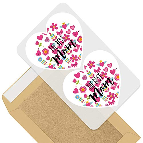 Awesome 2 x Heart Stickers 7.5 cm - Best Mom Mum Mummy Mothers Day Fun Decals for Laptops,Tablets,Luggage,Scrap Booking,Fridges,Cool Gift #44273