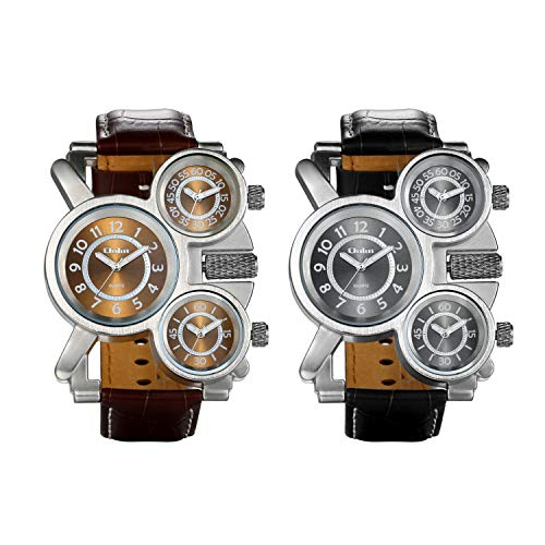 JewelryWe 2PCS Herren Einzigartig Übergroße Armbanduhr DREI Zeitzone Analog Quarz Uhr Sportuhr mit Leder Armband, Schwarz Braun