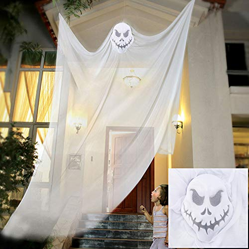 willkey Halloween Ghost Hanging Scary Horror Supplies Decoration Curtain Haunted Terror Prop Skeleton Steering Wheel for Home Garden Party Halloween white