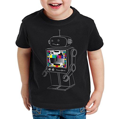 style3 Sheldon Testbild Roboter Kinder T-Shirt, Farbe:Schwarz;Größe:128