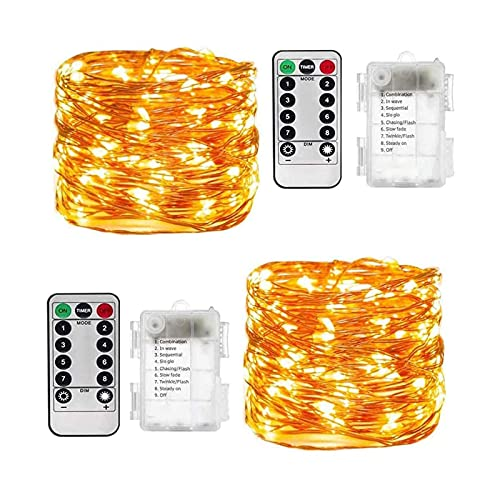 Led Fairy Lights, 2 Pack 10M 100 LED Battery Operated 8 Modes with Remote Control, Waterproof String...