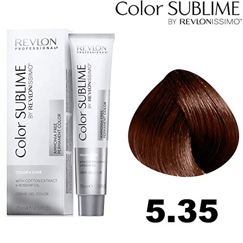 Revlon Professional Color Sublime By Revlonissimo Color&Care Ammonia Free Permanent Color 5.35, Hellbrauner Bernstein, 1er Pack(1 x 60 ml)