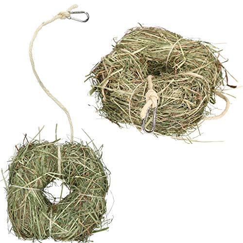 AB Toools Rosewood 2PkSmall Animal Boredom Breaker Treat Rabbit Guinea Natural Alfalfa Hay Ring