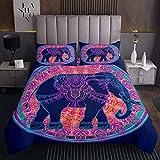 Böhmische Elefanten Bettwäsche Set 240x260 Blau Lila Mandala Dekor Bettdecke Set 2 Stück Boho Exotisch Stil Steppdecke Für Erwachsene Frauen Boho Exotisch Stamm Elefant Tier Thema Bettdecke Set